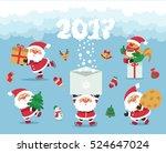 vector. funny cartoon. santa... | Shutterstock .eps vector #524647024