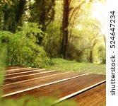 wooden desk and spring garden... | Shutterstock . vector #524647234