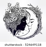 dreamy elf fairy with a moon.... | Shutterstock .eps vector #524649118