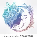 dreamy elf fairy with a moon.... | Shutterstock .eps vector #524649184
