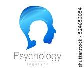 modern head logo of psychology. ... | Shutterstock .eps vector #524653054