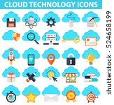 cloud technology icons. it... | Shutterstock .eps vector #524658199