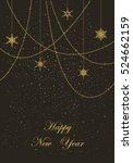 golden garlands and snowflakes...   Shutterstock .eps vector #524662159