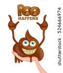 poo emoji cartoon smiley funny... | Shutterstock .eps vector #524666974