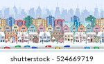 winter city street with trees... | Shutterstock . vector #524669719