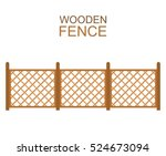 wooden fence from crossed... | Shutterstock .eps vector #524673094