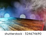 wooden desk and party time  | Shutterstock . vector #524674690