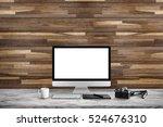 white screen computer in room... | Shutterstock . vector #524676310