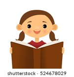 girl reading a book | Shutterstock .eps vector #524678029