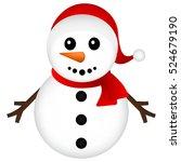 christmas snowman on white... | Shutterstock . vector #524679190