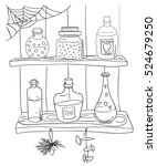 witch magic potion on the shelf ... | Shutterstock .eps vector #524679250