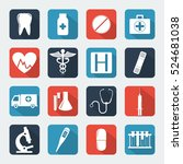 medical icons set. healthcare... | Shutterstock .eps vector #524681038