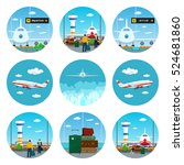 set of airport icons scoreboard ... | Shutterstock .eps vector #524681860