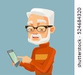 elderly man character looking... | Shutterstock .eps vector #524684320