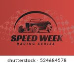 retro hot rod car poster. t... | Shutterstock .eps vector #524684578