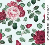 seamless pattern with peony and ... | Shutterstock . vector #524684644