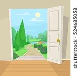 open door to garden. vector... | Shutterstock .eps vector #524685058