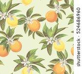 seamless citrus pattern.hand... | Shutterstock .eps vector #524686960