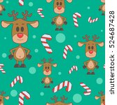 seamless pattern with reindeer...
