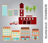 cityscape flat design elements | Shutterstock .eps vector #524688658
