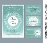 set of wedding card and... | Shutterstock .eps vector #524693800