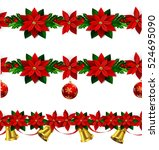 set of n seamless christmas... | Shutterstock .eps vector #524695090
