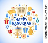 happy hanukkah greeting card in ... | Shutterstock . vector #524695534