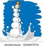 snowman on milk splash   vector ... | Shutterstock .eps vector #524697274