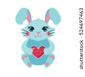 cute bunny hugging heart. love... | Shutterstock .eps vector #524697463