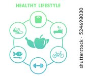 healthy lifestyle icons on