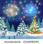 christmas landscape with... | Shutterstock .eps vector #524698294