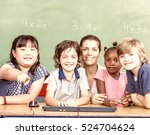 beautiful teacher with mixed... | Shutterstock . vector #524704624