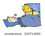 tired lazy man sleep in the bed ... | Shutterstock .eps vector #524711890