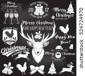 set of merry christmas and... | Shutterstock .eps vector #524724970