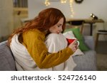 redhead woman enjoying a cup of ... | Shutterstock . vector #524726140
