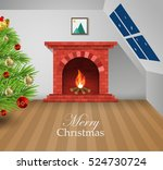 cozy interior of the house near ... | Shutterstock .eps vector #524730724