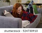 redhead woman laughing while... | Shutterstock . vector #524730910