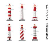 cartoon lighthouse icons.... | Shutterstock .eps vector #524733796
