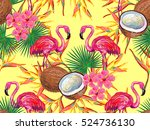 summer jungle pattern with with ... | Shutterstock .eps vector #524736130