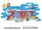 traveling by plane and bus. new ... | Shutterstock . vector #524737003