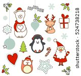 set of christmas characters... | Shutterstock .eps vector #524738218