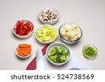 vegetables cut for stir fried... | Shutterstock . vector #524738569