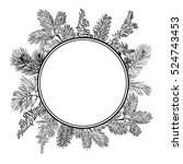 black vector christmas branch... | Shutterstock .eps vector #524743453