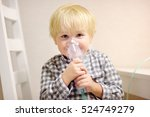 cute boy inhalation therapy by... | Shutterstock . vector #524749279
