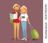 young couple with travel bag... | Shutterstock .eps vector #524750194