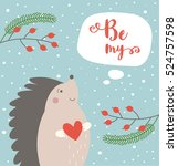 Cute Hedgehog Card With Be My...