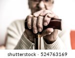 old woman with cane | Shutterstock . vector #524763169