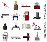 barrel oil production icons set.... | Shutterstock .eps vector #524766586