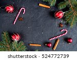 Christmas Dark Background With...