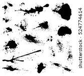 set of black blots and ink... | Shutterstock .eps vector #524774614